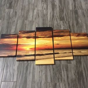 Five panel sunset canvas print